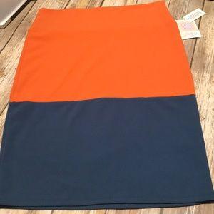 Lularoe CASSIE skirt-XL-orange & Blue-NWT